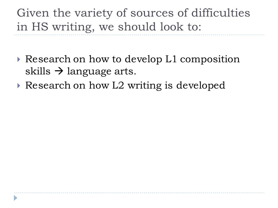 Given the variety of sources of difficulties in HS writing, we should look to:  Research on how to develop L1 composition skills  language arts.