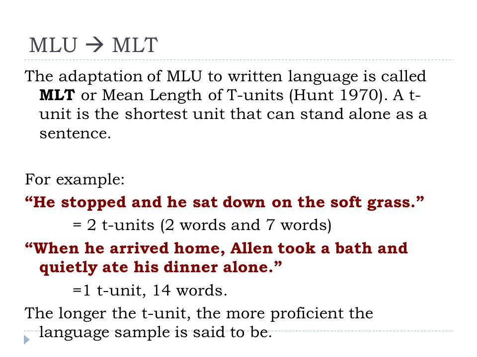 Informal examination of MLT Calculated MLT in 100 Spanish texts written by UIC heritage speakers as part of their Spanish placement exam.