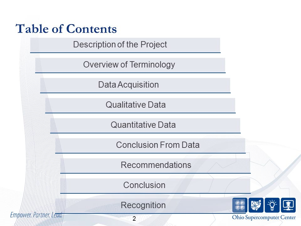 2 Table of Contents Conclusion Description of the Project Recommendations Conclusion From Data Quantitative Data Qualitative Data Data Acquisition Overview of Terminology Recognition
