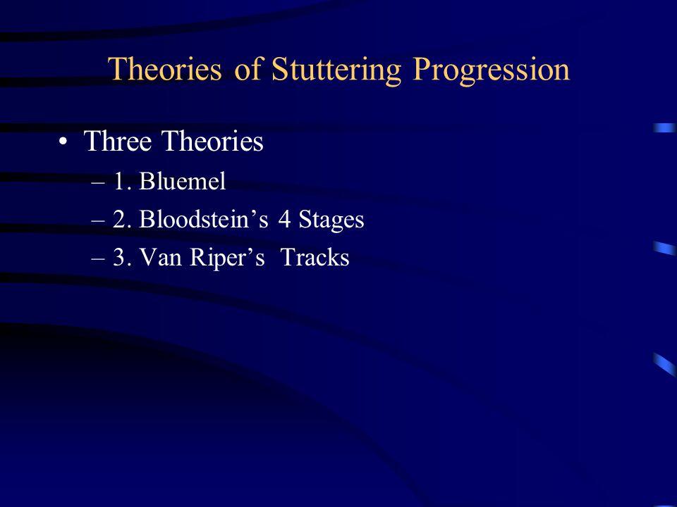 Theories of Stuttering Progression Three Theories –1. Bluemel –2. Bloodstein's 4 Stages –3. Van Riper's Tracks