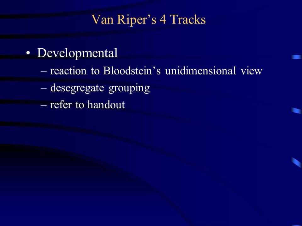 Van Riper's 4 Tracks Developmental –reaction to Bloodstein's unidimensional view –desegregate grouping –refer to handout