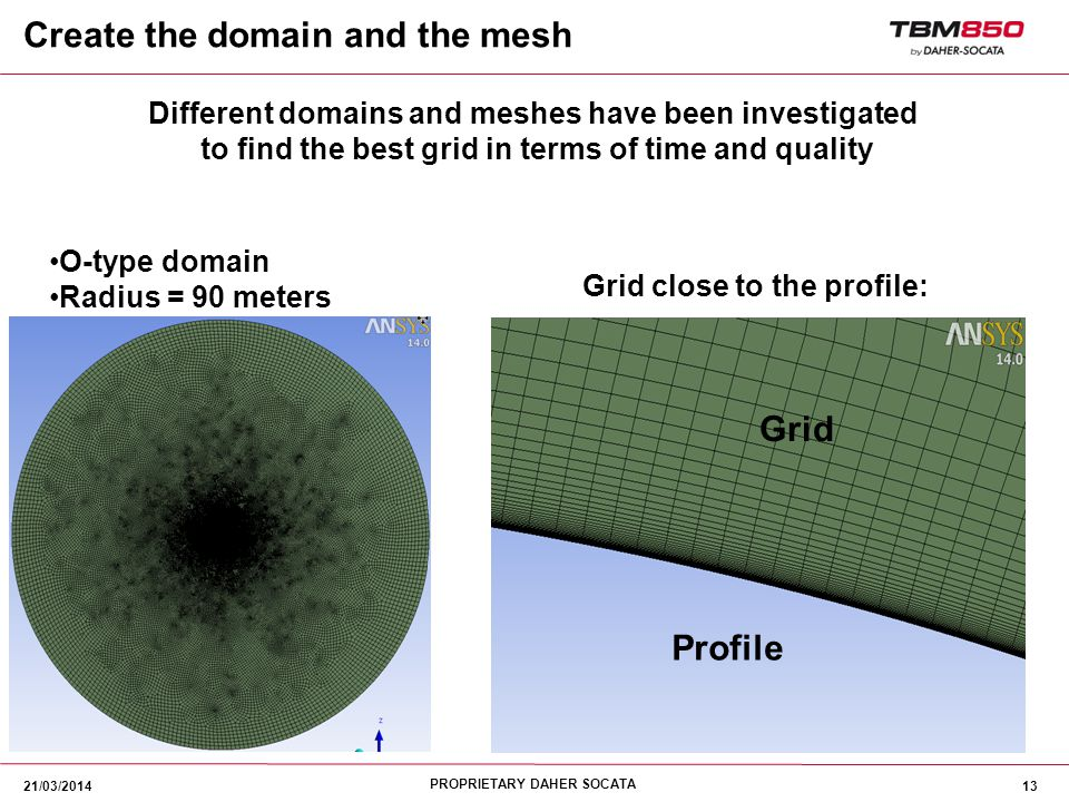 PROPRIETARY DAHER SOCATA 13 O-type domain Radius = 90 meters Different domains and meshes have been investigated to find the best grid in terms of tim