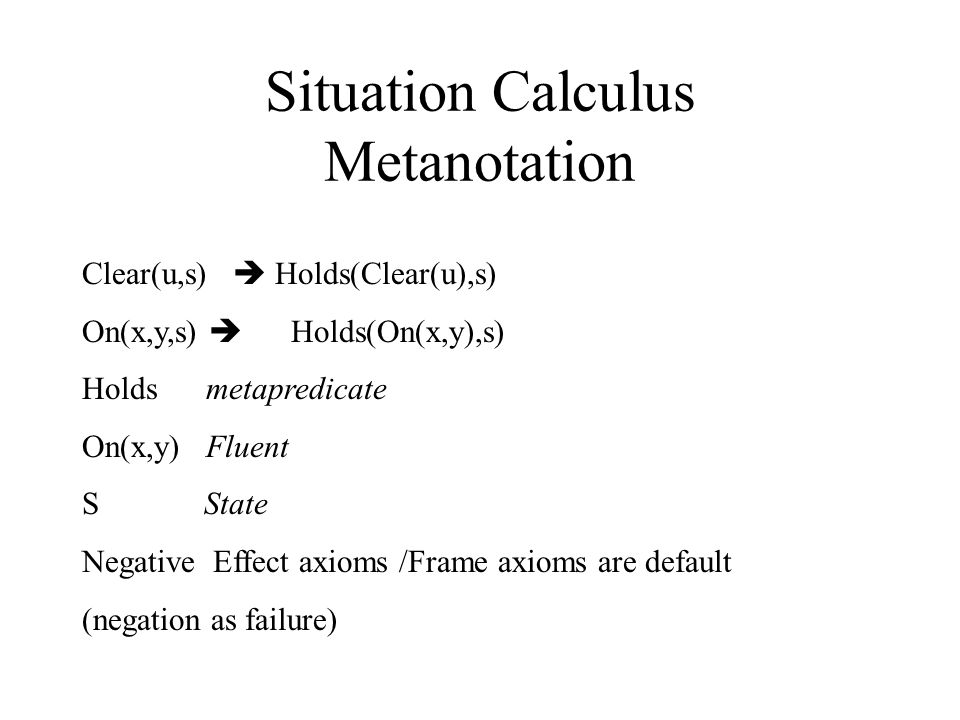Situation Calculus Metanotation Clear(u,s)  Holds(Clear(u),s) On(x,y,s)  Holds(On(x,y),s) Holds metapredicate On(x,y) Fluent S State Negative Effect axioms /Frame axioms are default (negation as failure)