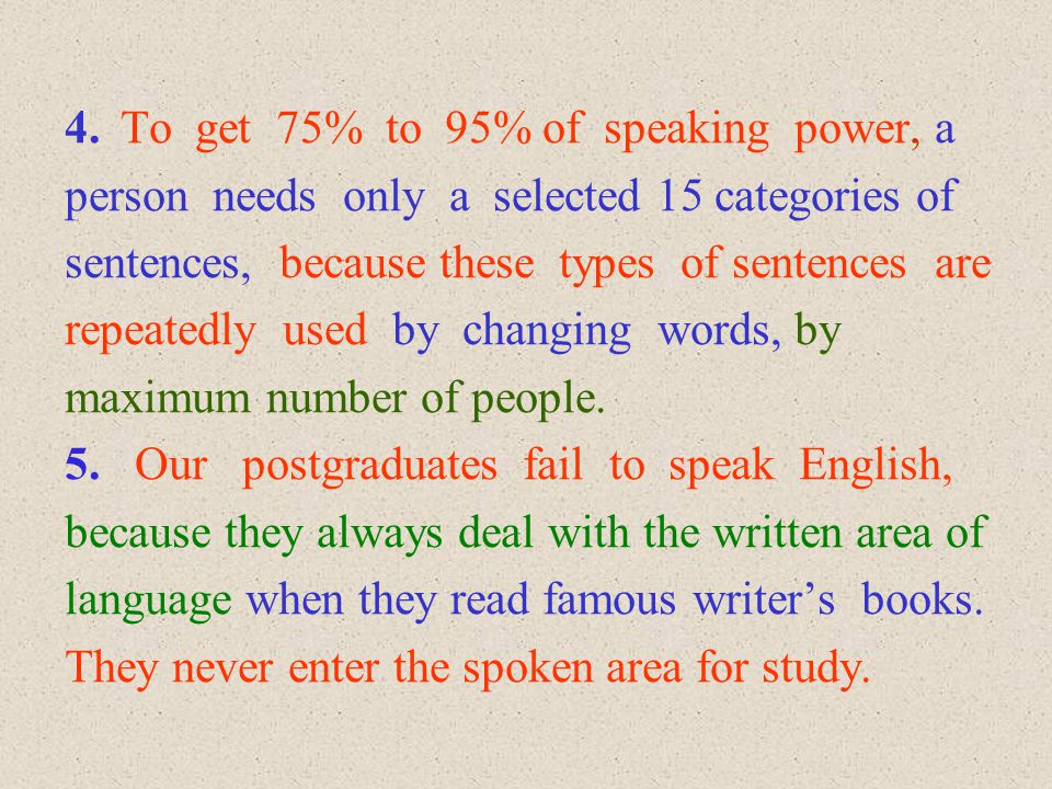 4. To get 75% to 95% of speaking power, a person needs only a selected 15 categories of sentences, because these types of sentences are repeatedly use