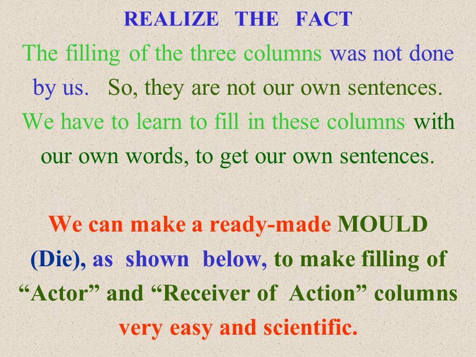 REALIZE THE FACT The filling of the three columns was not done by us.