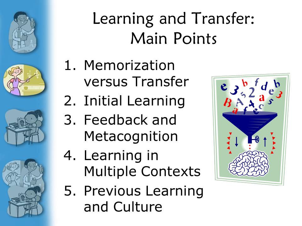 Learning and Transfer: Main Points 1.Memorization versus Transfer 2.Initial Learning 3.Feedback and Metacognition 4.Learning in Multiple Contexts 5.Previous Learning and Culture