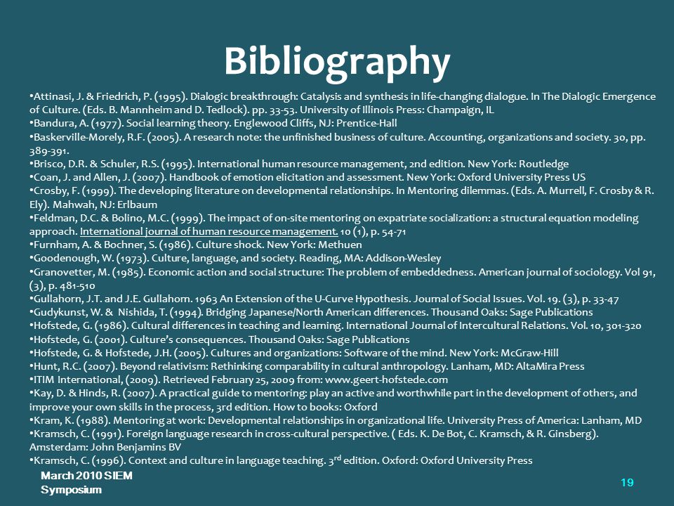 Bibliography March 2010 SIEM Symposium 19 Attinasi, J.