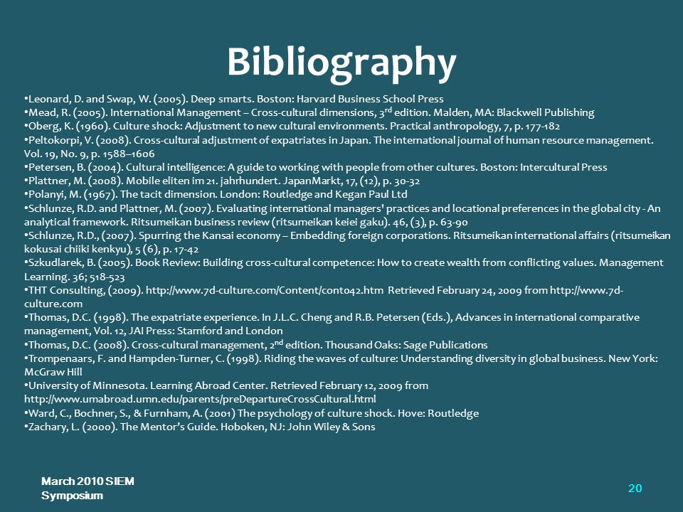 Bibliography March 2010 SIEM Symposium 20 Leonard, D.