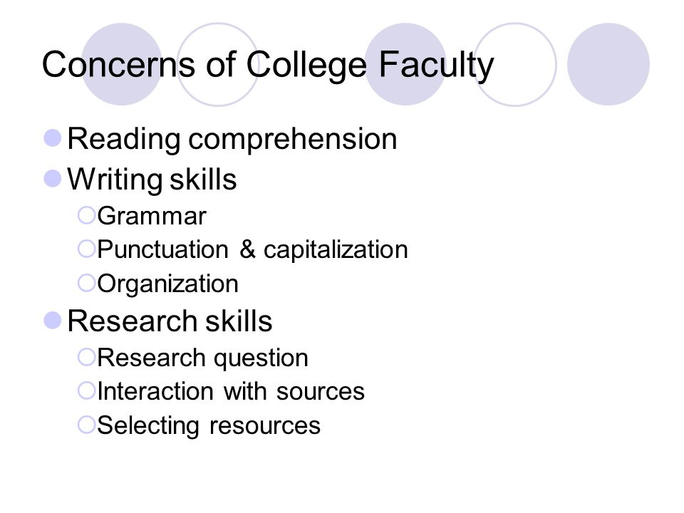 Concerns of College Faculty Reading comprehension Writing skills  Grammar  Punctuation & capitalization  Organization Research skills  Research question  Interaction with sources  Selecting resources