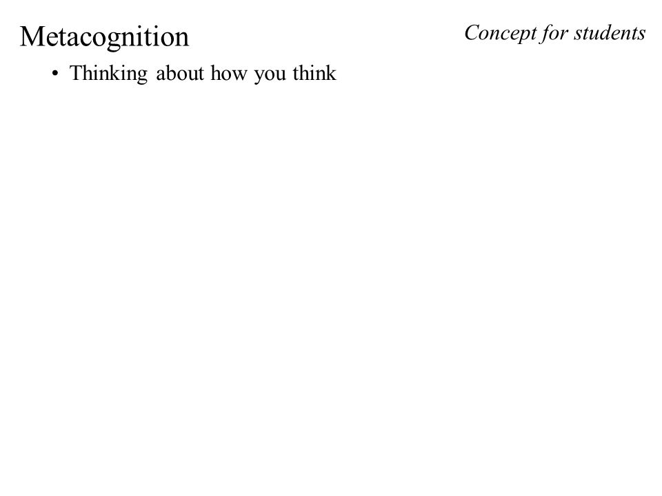 Metacognition Thinking about how you think Concept for students
