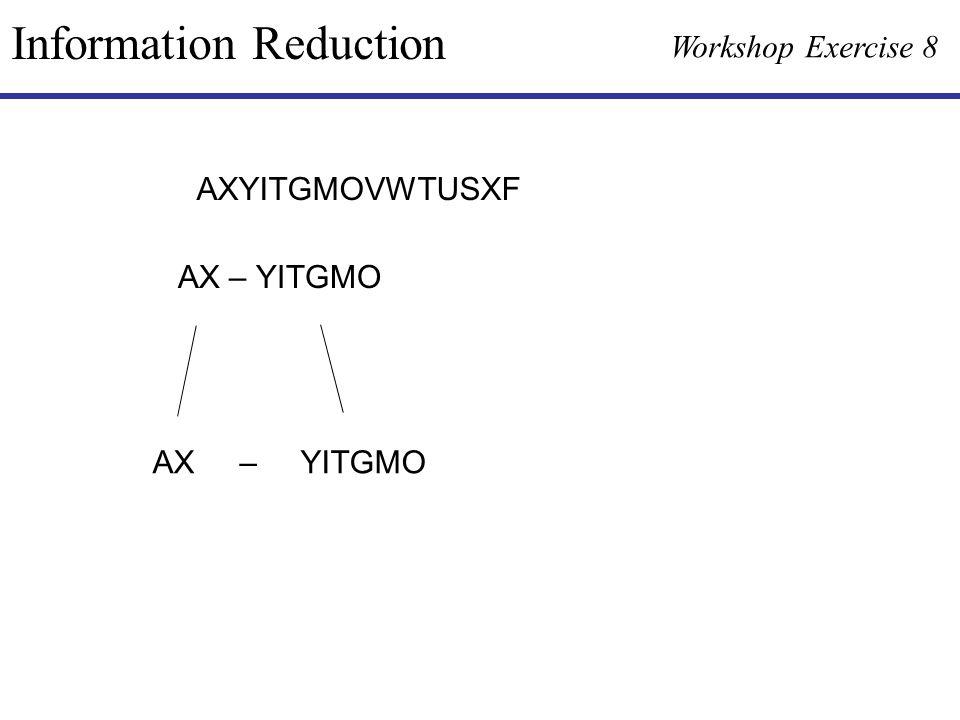 Information Reduction Workshop Exercise 8 AXYITGMOVWTUSXF AX – YITGMO