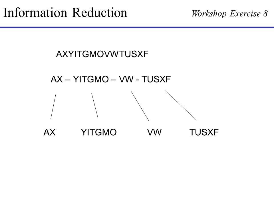 Information Reduction Workshop Exercise 8 AXYITGMOVWTUSXF AX – YITGMO – VW - TUSXF AX YITGMO VW TUSXF