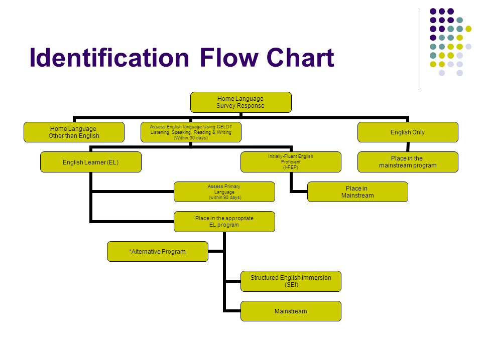 Identification Flow Chart Home Language Survey Response Home Language Other than English Assess English language Using CELDT Listening, Speaking, Reading & Writing (Within 30 days) English Learner (EL) Assess Primary Language (within 90 days) Place in the appropriate EL program Structured English Immersion (SEI) Mainstream *Alternative Program Initially-Fluent English Proficient (I-FEP) Place in Mainstream English Only Place in the mainstream program
