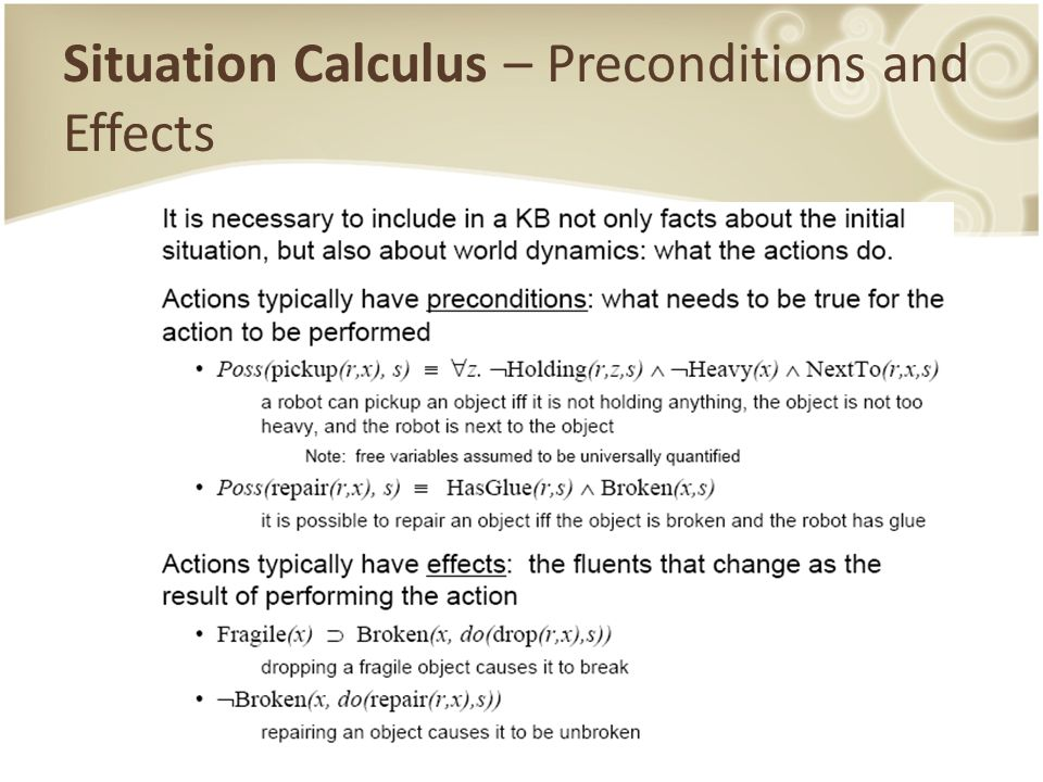 Situation Calculus – Preconditions and Effects