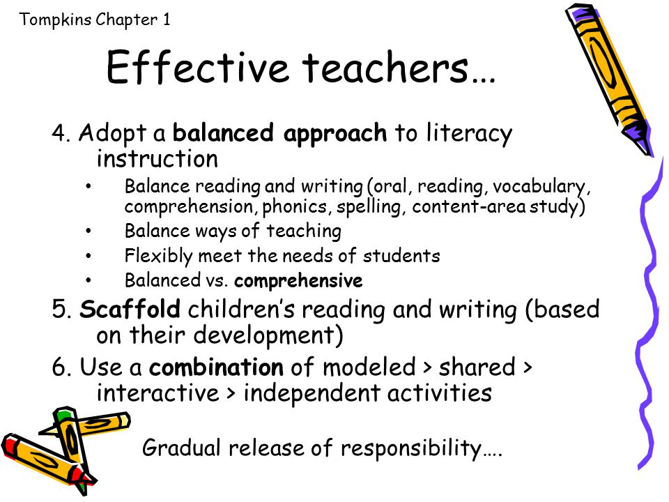 Effective teachers… 4. Adopt a balanced approach to literacy instruction Balance reading and writing (oral, reading, vocabulary, comprehension, phonic