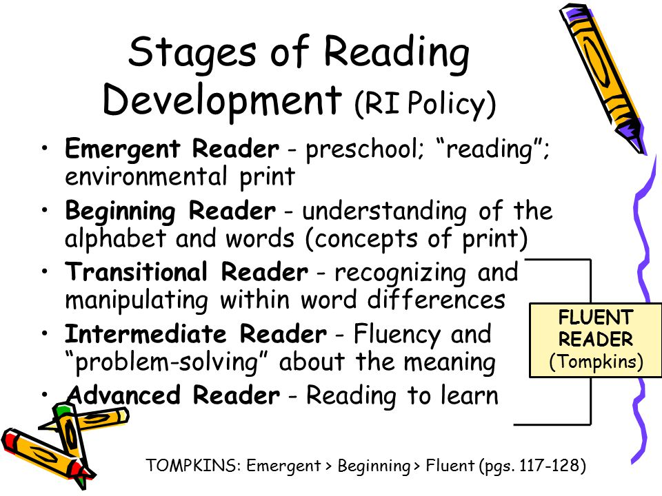 "Stages of Reading Development (RI Policy) Emergent Reader - preschool; ""reading""; environmental print Beginning Reader - understanding of the alphabet"