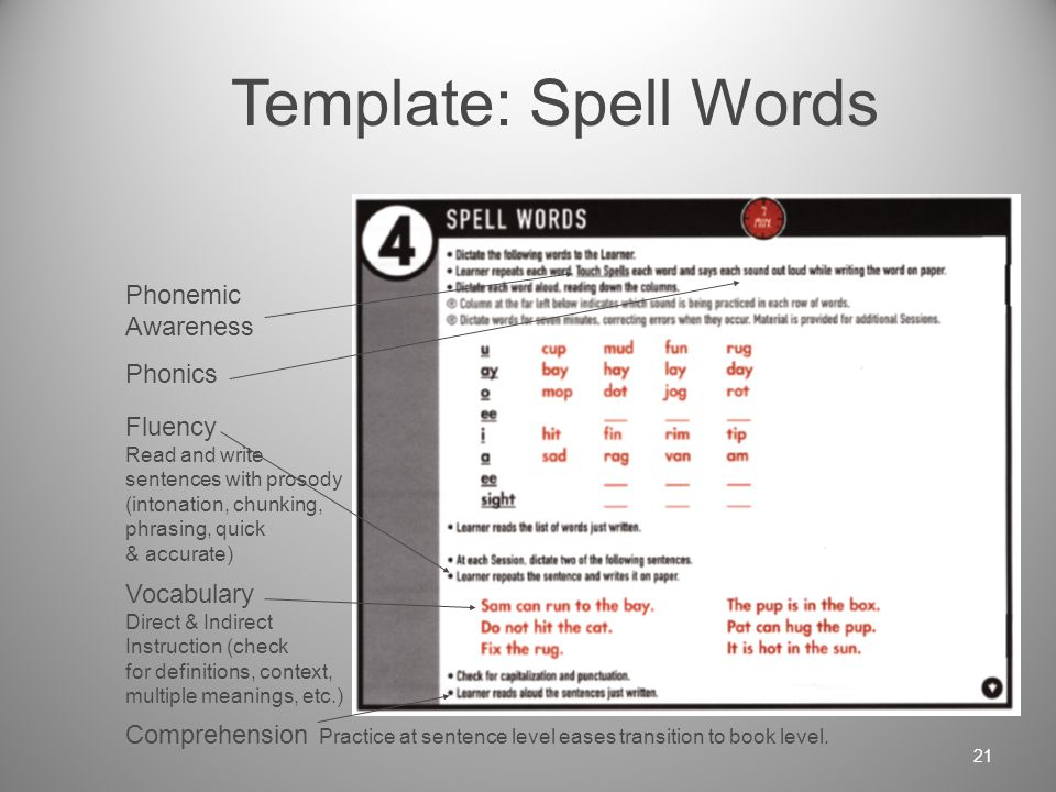 Template: Read Words Phonics Blend known sounds into words automatically Automaticity Response is quick & accurate Vocabulary Direct & Indirect Instruction (check for definitions, context, multiple meanings, etc.) Comprehension Practice at word level Eases transition to sentence level.