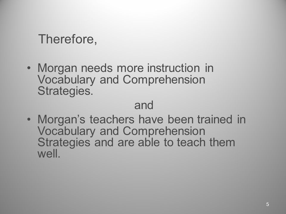 If… Morgan has been tested on Vocabulary and Comprehension.
