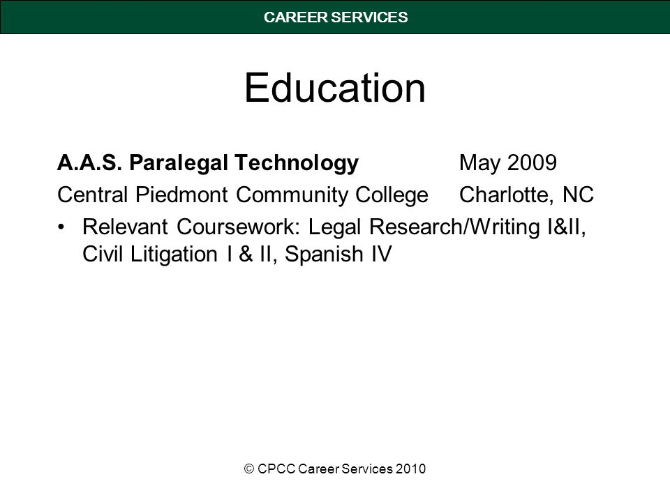 CAREER SERVICES Education A.A.S.