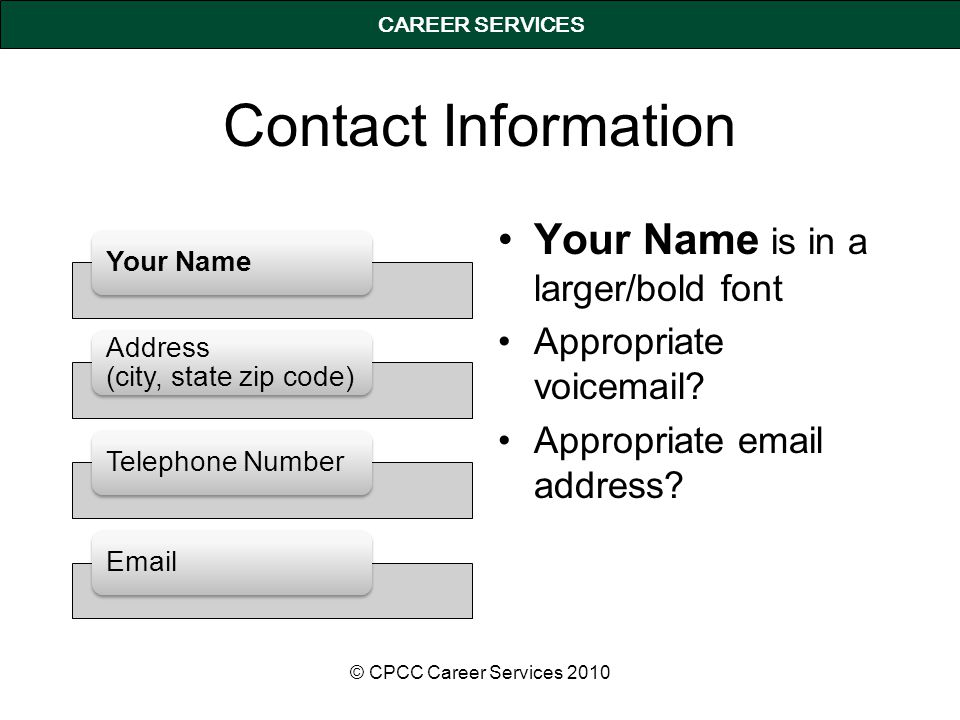 CAREER SERVICES Contact Information Your Name Address (city, state zip code) Telephone NumberEmail Your Name is in a larger/bold font Appropriate voic