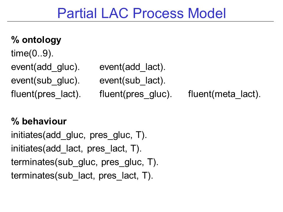 Partial LAC Process Model % ontology time(0..9). event(add_gluc).