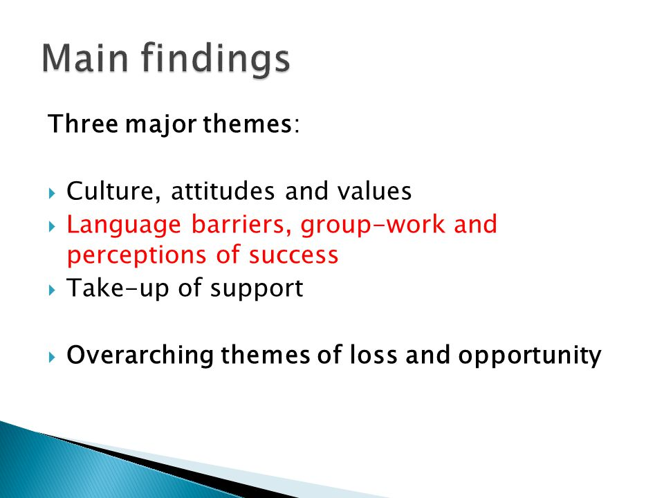 Three major themes:  Culture, attitudes and values  Language barriers, group-work and perceptions of success  Take-up of support  Overarching them