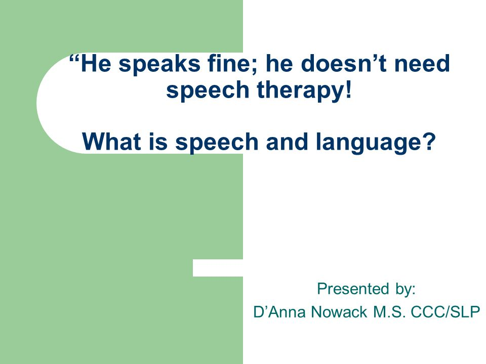 He speaks fine; he doesn't need speech therapy. What is speech and language.