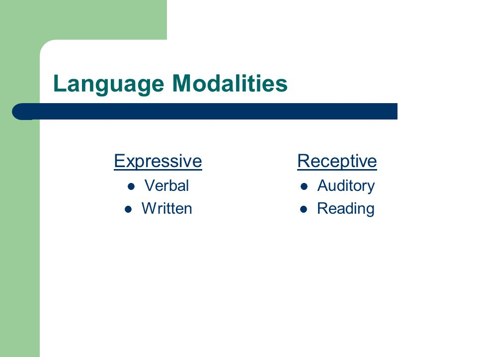 Language Modalities Expressive Verbal Written Receptive Auditory Reading