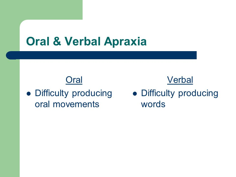 Oral & Verbal Apraxia Oral Difficulty producing oral movements Verbal Difficulty producing words