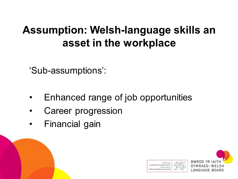 Assumption: Welsh-language skills an asset in the workplace 'Sub-assumptions': Enhanced range of job opportunities Career progression Financial gain