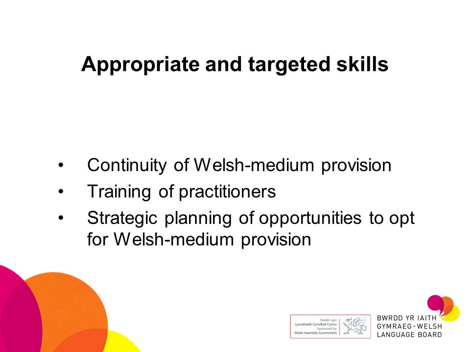 Appropriate and targeted skills Continuity of Welsh-medium provision Training of practitioners Strategic planning of opportunities to opt for Welsh-medium provision
