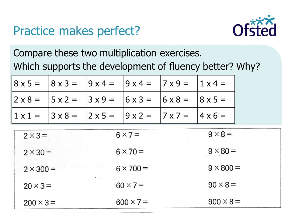 Practice makes perfect? Compare these two multiplication exercises. Which supports the development of fluency better? Why?