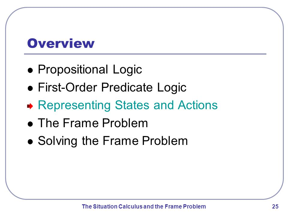 The Situation Calculus and the Frame Problem 26 Representing States represent domain objects as constants examples: loc1, loc2, …, robot1, robot2, … represent relations as predicates examples: adjacent(l,l'), occupied(l), at(r,l), … problem: truth value of some relations changes from state to state examples: occupied(loc1), at(robot1,loc1)