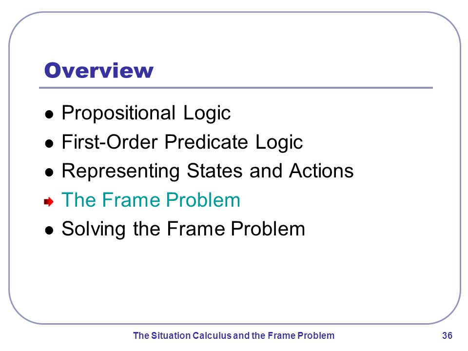 The Situation Calculus and the Frame Problem 36 Overview Propositional Logic First-Order Predicate Logic Representing States and Actions The Frame Problem Solving the Frame Problem