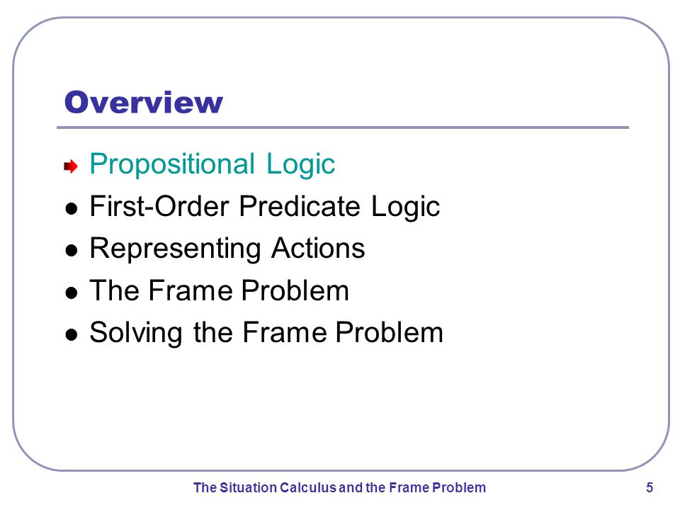 The Situation Calculus and the Frame Problem 5 Overview Propositional Logic First-Order Predicate Logic Representing Actions The Frame Problem Solving the Frame Problem