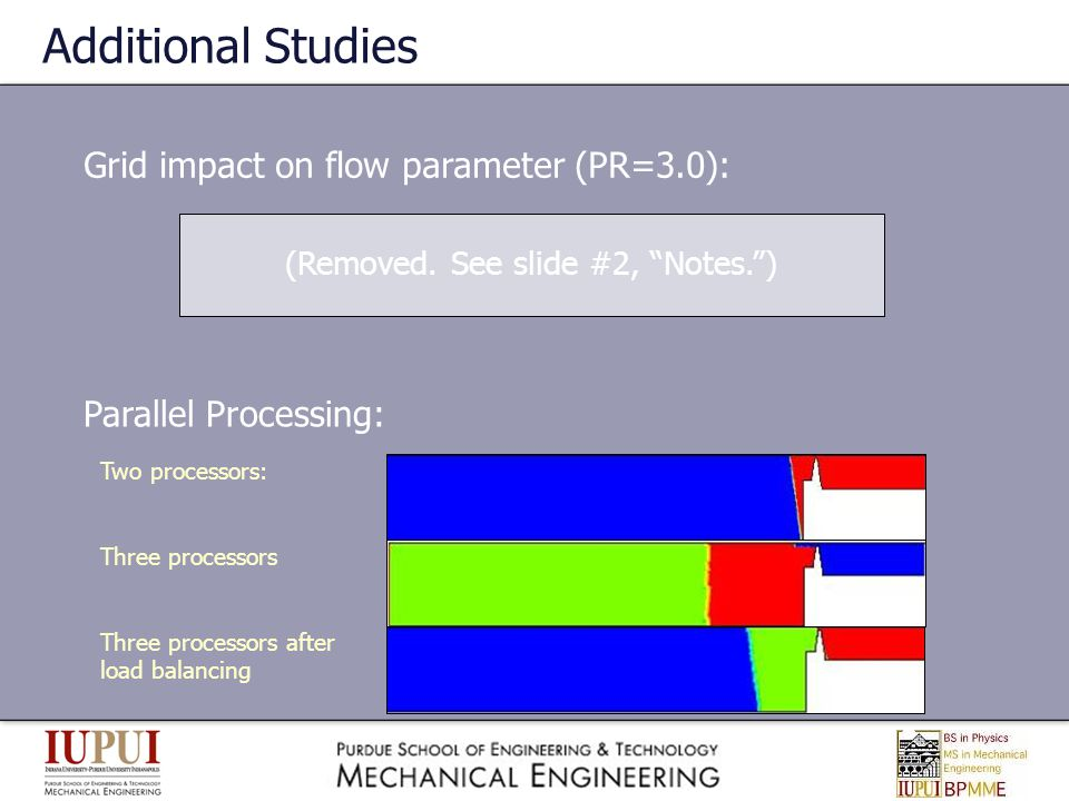 Additional Studies Grid impact on flow parameter (PR=3.0): Parallel Processing: Two processors: Three processors Three processors after load balancing