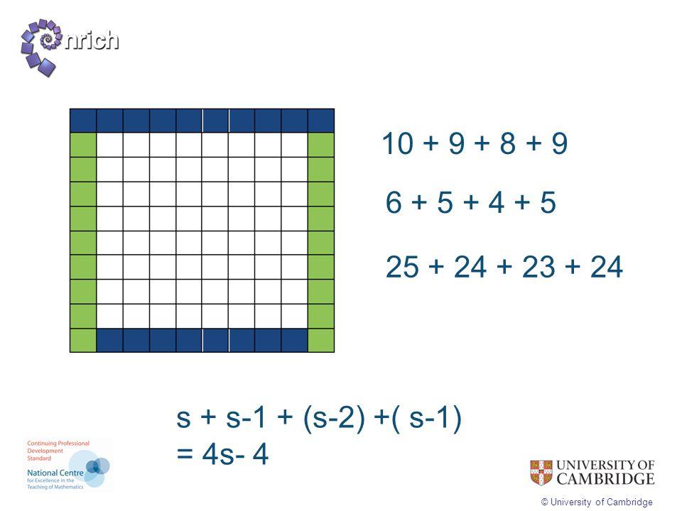 © University of Cambridge 10 + 9 + 8 + 9 6 + 5 + 4 + 5 25 + 24 + 23 + 24 s + s-1 + (s-2) +( s-1) = 4s- 4