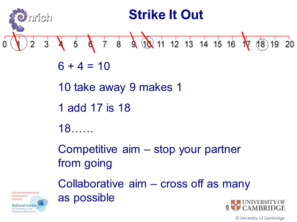 © University of Cambridge 7 What is the mathematical knowledge that is needed to play.