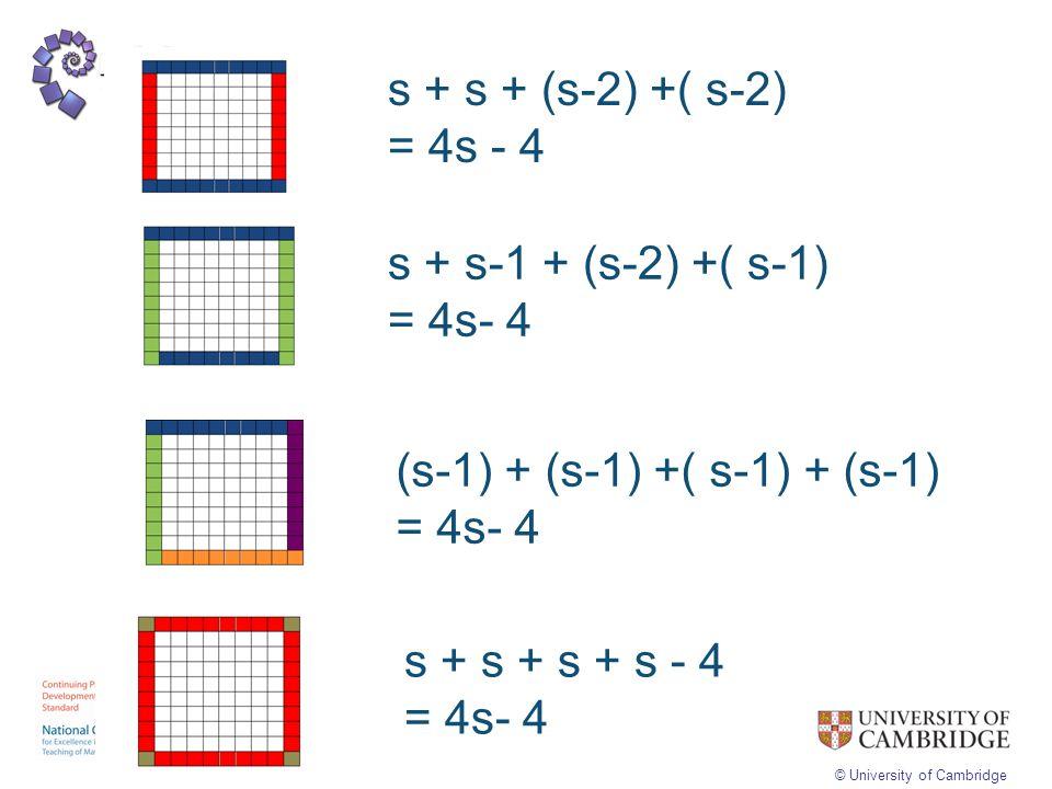 © University of Cambridge s + s + (s-2) +( s-2) = 4s - 4 s + s-1 + (s-2) +( s-1) = 4s- 4 (s-1) + (s-1) +( s-1) + (s-1) = 4s- 4 s + s + s + s - 4 = 4s-