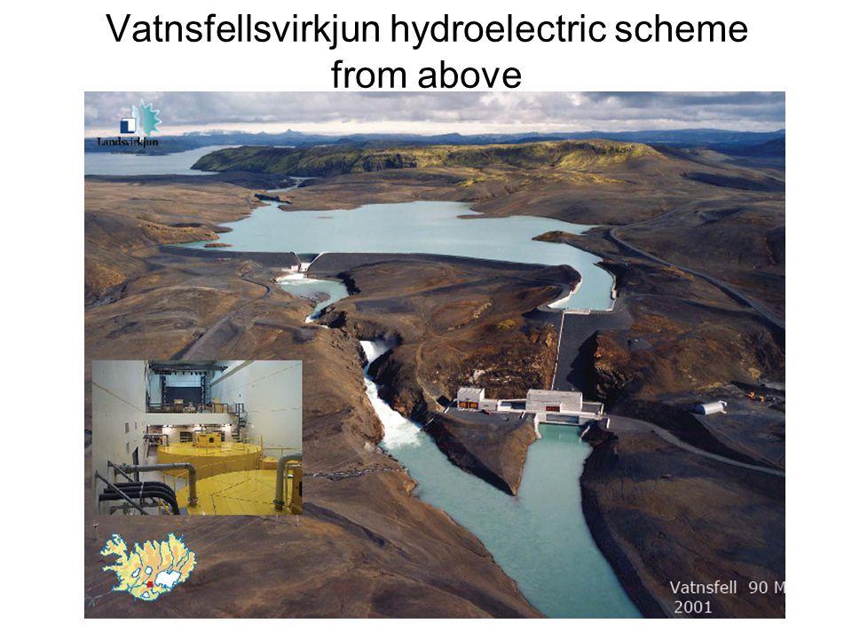 Vatnsfellsvirkjun hydroelectric scheme from above
