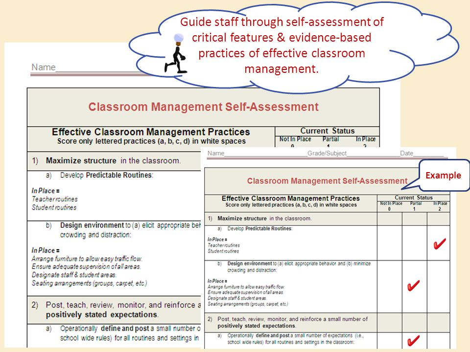 Example Guide staff through self-assessment of critical features & evidence-based practices of effective classroom management.