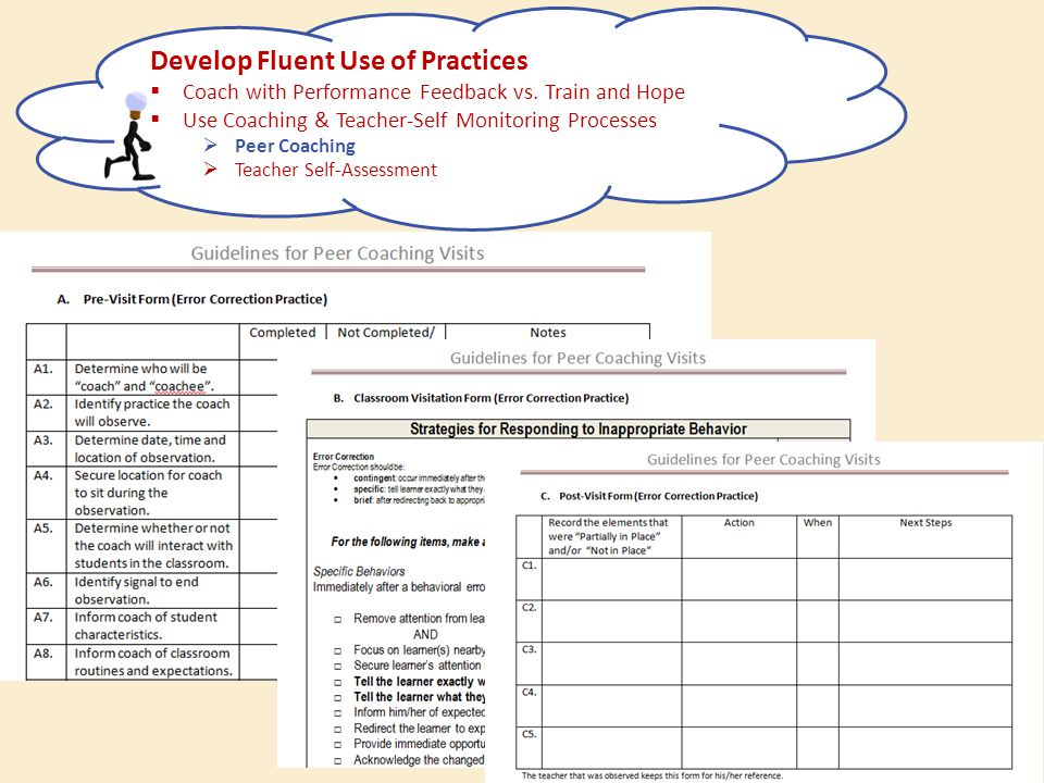 Develop Fluent Use of Practices  Coach with Performance Feedback vs. Train and Hope  Use Coaching & Teacher-Self Monitoring Processes  Peer Coachin