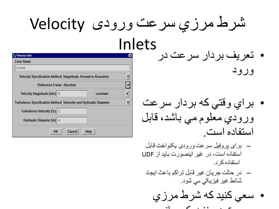شرط مرزي سرعت ورودی Velocity Inlets تعريف بردار سرعت در ورود براي وقتي که بردار سرعت ورودي معلوم مي باشد، قابل استفاده است.