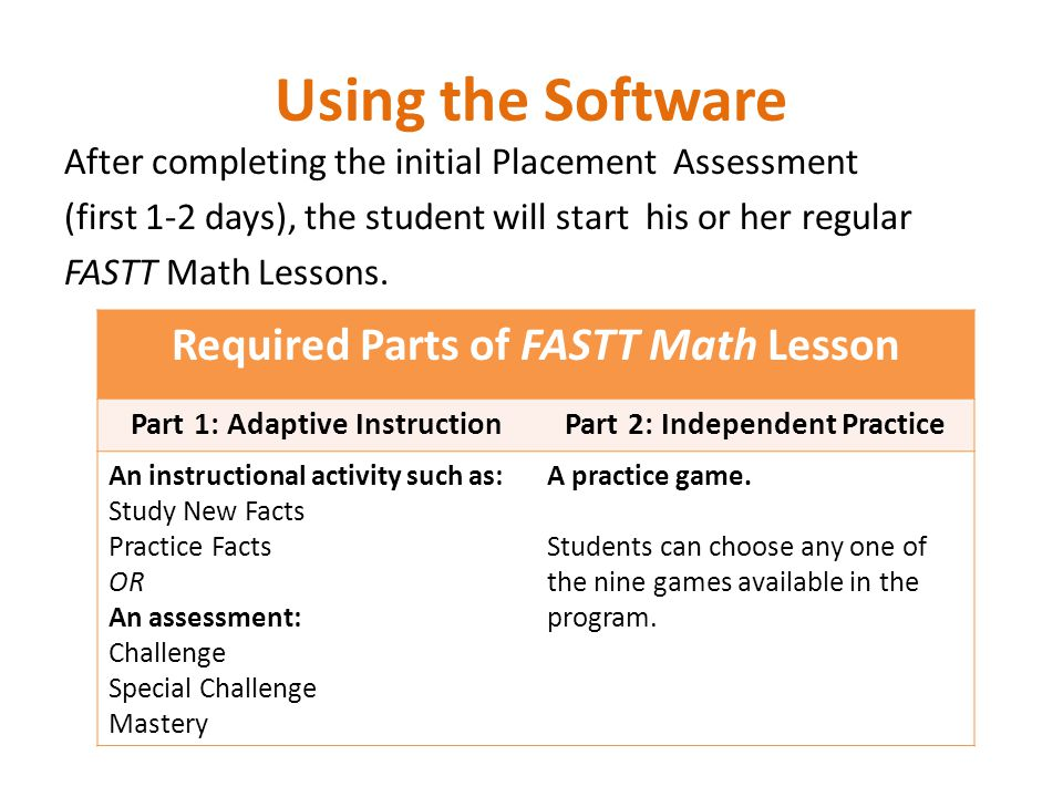 Using the Software After completing the initial Placement Assessment (first 1-2 days), the student will start his or her regular FASTT Math Lessons.