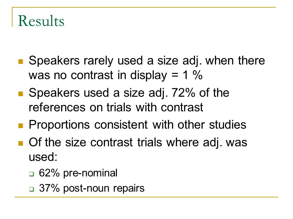 Results Speakers rarely used a size adj.