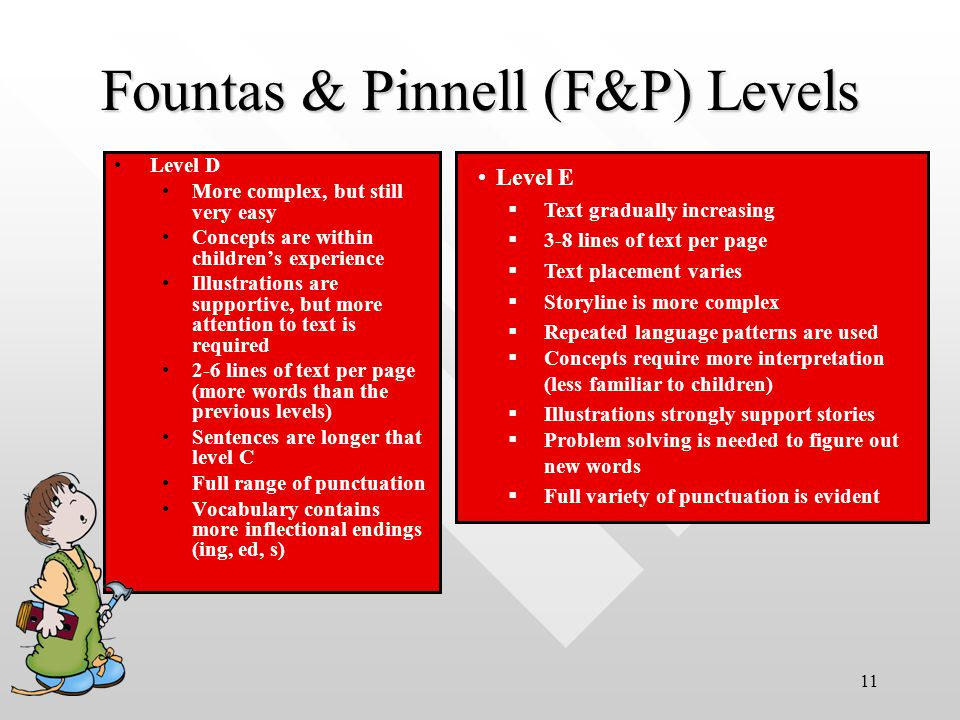 11 Level D More complex, but still very easy Concepts are within children's experience Illustrations are supportive, but more attention to text is required 2-6 lines of text per page (more words than the previous levels) Sentences are longer that level C Full range of punctuation Vocabulary contains more inflectional endings (ing, ed, s) Fountas & Pinnell (F&P) Levels Level E  Text gradually increasing  3-8 lines of text per page  Text placement varies  Storyline is more complex  Repeated language patterns are used  Concepts require more interpretation (less familiar to children)  Illustrations strongly support stories  Problem solving is needed to figure out new words  Full variety of punctuation is evident