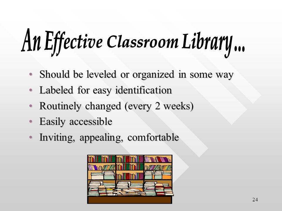 24 Should be leveled or organized in some wayShould be leveled or organized in some way Labeled for easy identificationLabeled for easy identification Routinely changed (every 2 weeks)Routinely changed (every 2 weeks) Easily accessibleEasily accessible Inviting, appealing, comfortableInviting, appealing, comfortable