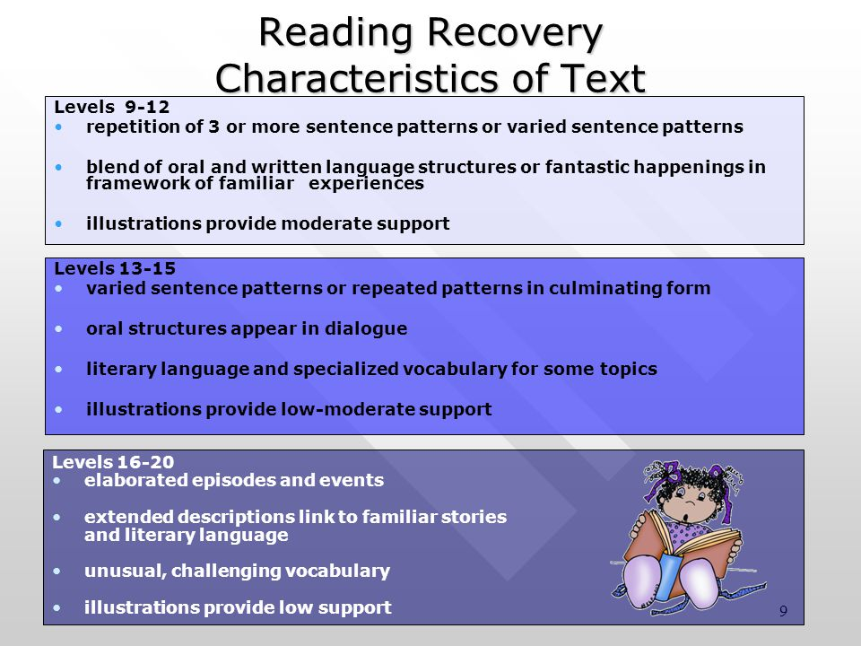9 Reading Recovery Characteristics of Text Levels 16-20 elaborated episodes and events extended descriptions link to familiar stories and literary language unusual, challenging vocabulary illustrations provide low support Levels 9-12 repetition of 3 or more sentence patterns or varied sentence patterns blend of oral and written language structures or fantastic happenings in framework of familiar experiences illustrations provide moderate support Levels 13-15 varied sentence patterns or repeated patterns in culminating form oral structures appear in dialogue literary language and specialized vocabulary for some topics illustrations provide low-moderate support