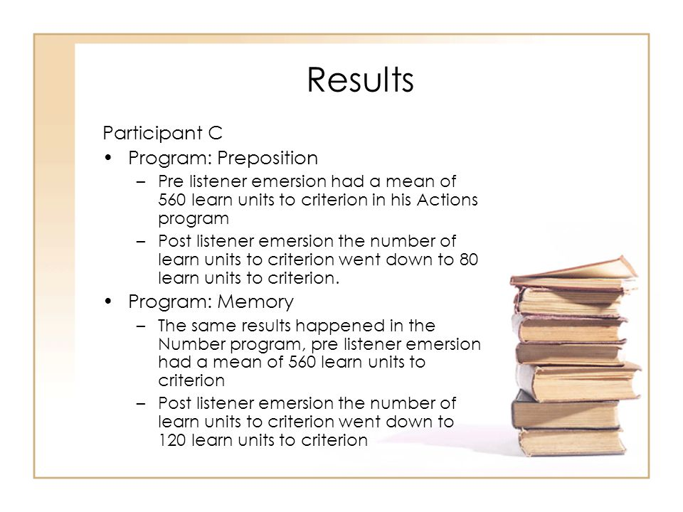 Results Participant C Program: Preposition –Pre listener emersion had a mean of 560 learn units to criterion in his Actions program –Post listener eme