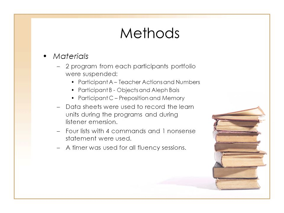 Methods Materials –2 program from each participants portfolio were suspended: Participant A – Teacher Actions and Numbers Participant B - Objects and